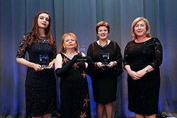 Mary Fitzgerald, foreign affairs correspondent with The Irish Times, Professor Emeritus Susan McKenna Lawlor, director, Space Technology Ireland and Margot Slattery, country president, Sodexo Ireland are presented with the Trailblazers Award by Orla Nugent, MBA Programme Director, UCD at the 2016 WXN Most Powerful Women in Ireland Awards.