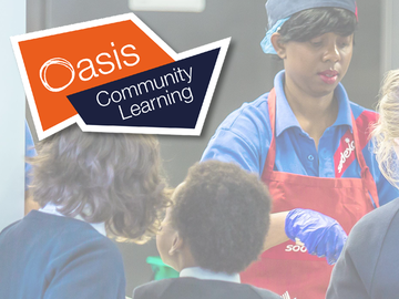 Oasis Community Learning logo on a background of a Sodexo employee serving school meals