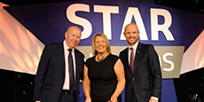 Pamela Millar is presented with the Employee Engagement Award by Sean Haley (left) regional chair for Sodexo UK and Ireland and brand ambassador Matt Dawson at the Sodexo Star Awards on Thursday 24th November 2016 in London